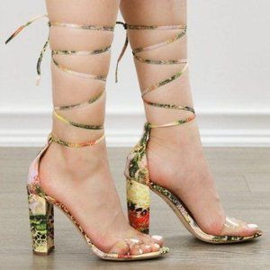 Leopard & Snake Laced-up Leg Tie Clear Toe Band